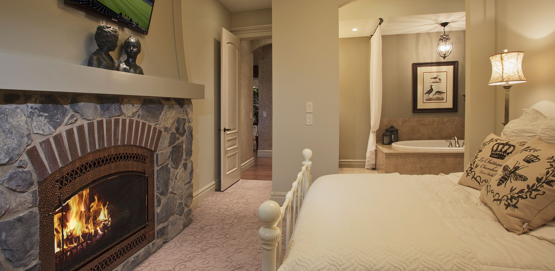Fireplace in a Wolf Custom Home Bedroom