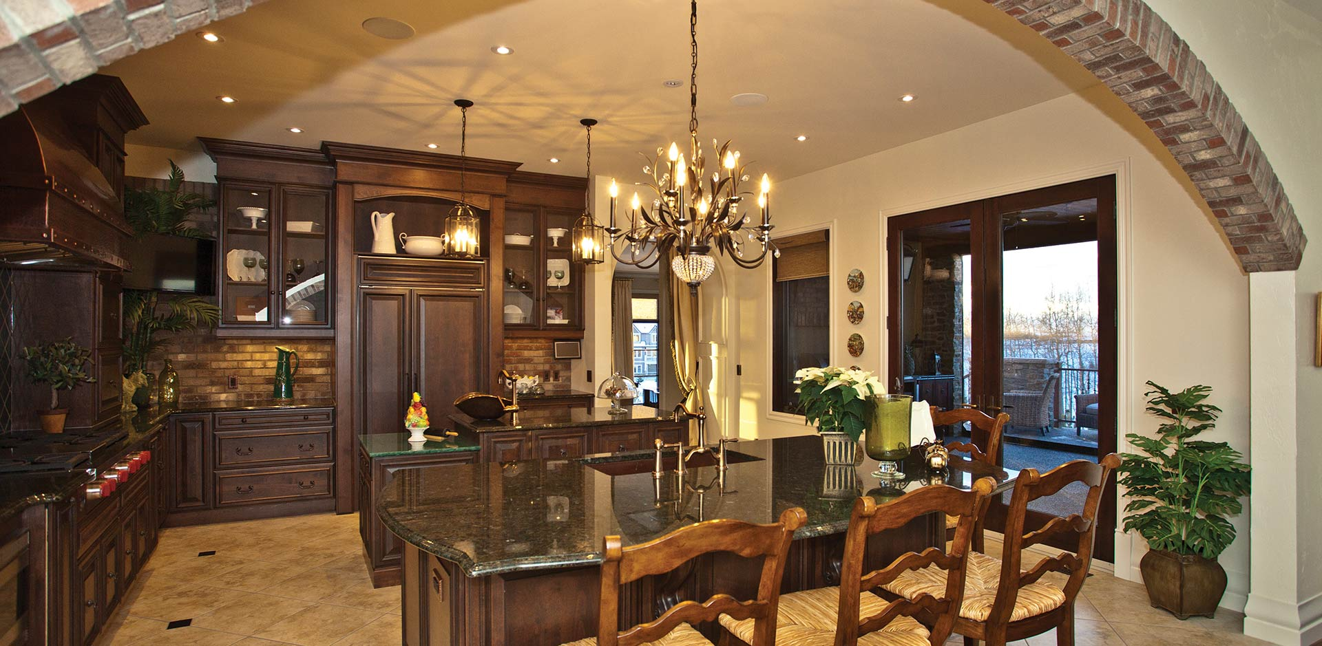 Stone Arch over the Dining Area in a Wolf Custom Home