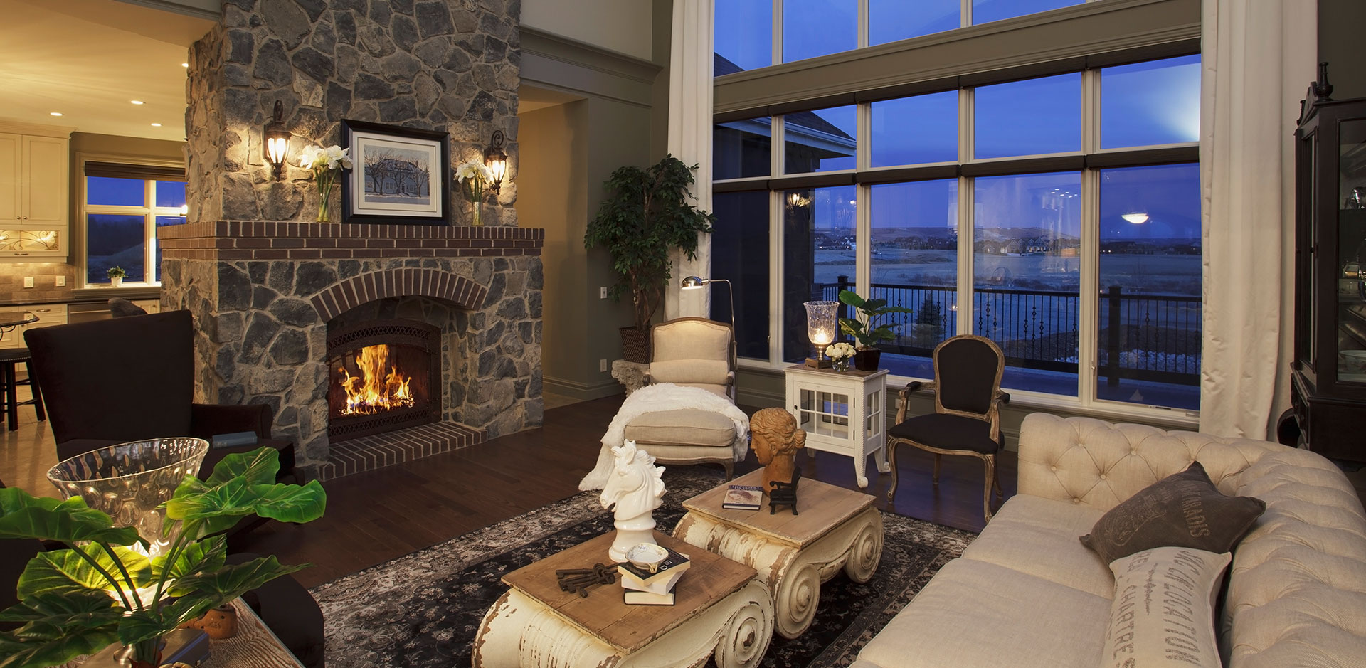 Classic Living Room with fireplace Design By Wolf Custom Homes