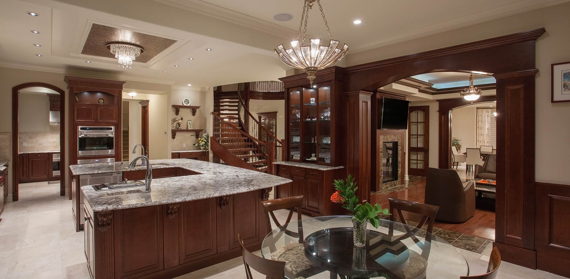 Dark Wood Kitchen Features by Wolf Custom Homes
