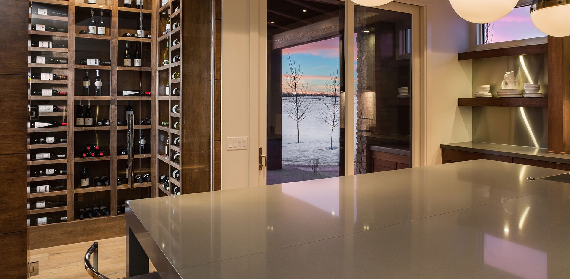Wine Cellar in the Kitchen of a Wolf Custom Home