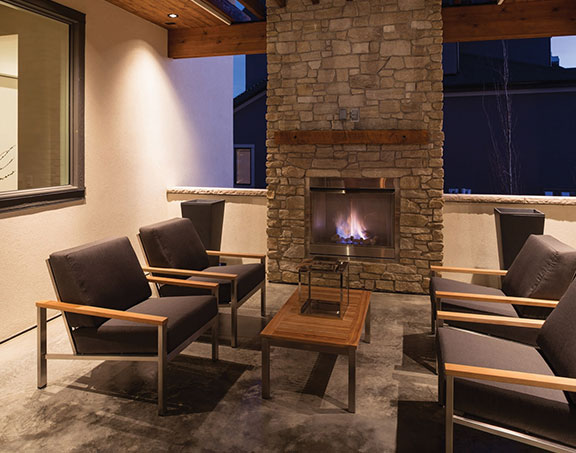 Wolf Custom Homes Cypress Outdoor Fireplace